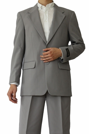 Mens Basic Suit Grey 2 Button Single Breast Fortini 702P - click to enlarge