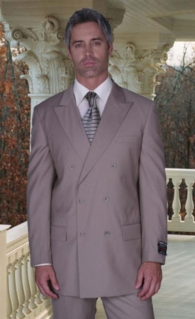 Mens Beige Double Breasted Suit Wool Feel Vinci DC900-1 - click to enlarge