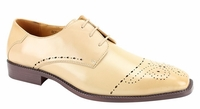 Mens Beige Dress Shoes Perforated Toe Antonio Cerelli 6738