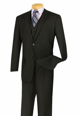 Vinci Mens Black 3 Piece Suit 2 Button Jacket V2TR - click to enlarge