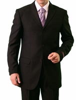 Mens Black 3 Button Suit Pleated Pants Tazio M103