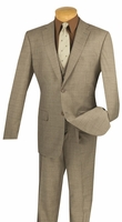 Vinci 3 Piece Suit Mens Taupe Window Pane Plaid V2RW-11