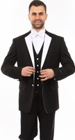 Mens Black Designer 3 Piece Slim Fit Tuxedo Tazio MT400S-04