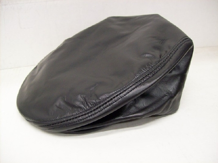 Mens Black Leather Cowhide Ivy Cap - click to enlarge
