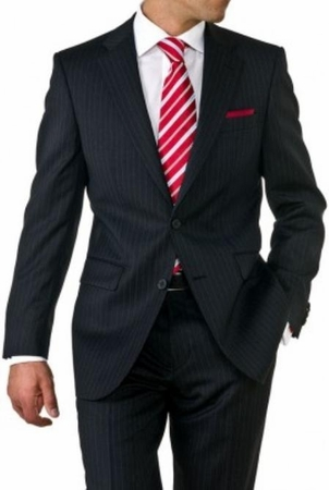 Mens Black Pinstripe 2 Button Suit 2 Piece 2RS-16 - click to enlarge