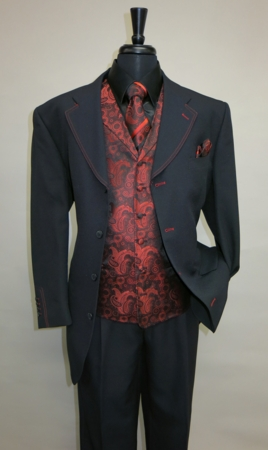 Mens Black Red Fancy Dress Suit Paisley Vest Tie Set Fortino 6903 - click to enlarge