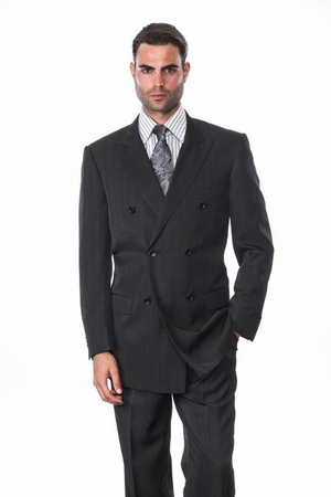 Mens Black Shadow Stripe Double Breasted Suit Alberto DB-1 - click to enlarge