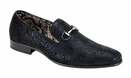 Mens Black Slip On Loafer Paisley Pattern After Midnite 6682 - click to enlarge