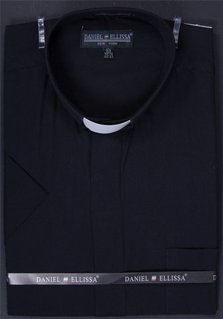 Mens Black Short Sleeve Clergy Shirt by Daniel Ellissa DS3007RS - click to enlarge