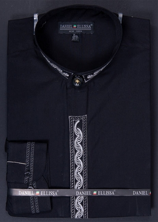 Mens Black Silver Chinese Collar Dress Shirt by Daniel Ellissa DS3113C - click to enlarge