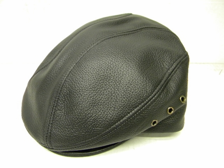 Mens Black Tumbled Leather Cowhide Ivy Cap - click to enlarge