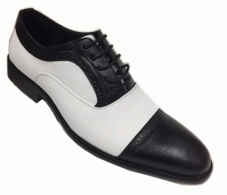 Mens Black White Gangster Shoes Cap Toe AC 6694  - click to enlarge