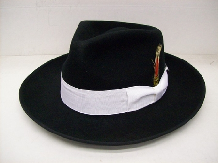 Mens Black with White 100% Wool Zoot Suit Wide Brim  Hat - click to enlarge