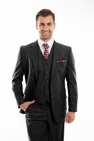 Mens Black Wool Super 150s 3 Piece Flat Front Style Suit ZeGarie MW249 - click to enlarge