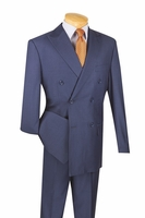 Mens Blue Double Breasted Suit Pleated Pants Wool Feel Vinci DC900-1