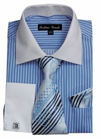 Mens Blue Dress Shirt Tie Combo Set White Collar Fortino FL631
