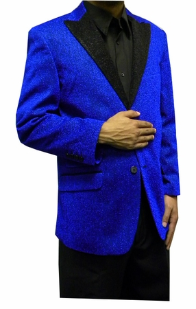 Mens Blue Glitter Blazer Entertainer Style Matching Bow Tie - click to enlarge