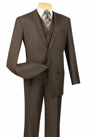 Mens Brown 3 Piece Suit 2 Button Jacket Vinci V2TR - click to enlarge