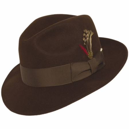 Mens Brown Fedora Hat 100% Wool Untouchable Brim Hats 8345 - click to enlarge