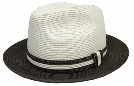 Capas Mens Brown Trim Straw Summer Hat PC200 - click to enlarge
