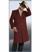 Mens Burgundy Full Length Wool Overcoat 3 Button Alberto