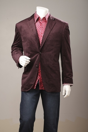 Mens  Dark Burgundy Velvet Blazer by Tony Blake 2 Button SR4 - click to enlarge