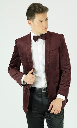 Mens Burgundy Velvet Tuxedo Jacket Round Collar Blazer KNY MZST - click to enlarge