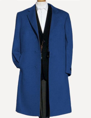 Mens Wool Overcoat Sapphire Blue 3 Button Back Split Alberto Nardoni - click to enlarge