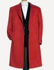 Mens Wool Overcoat Red 3 Button Split Back Alberto Nardoni
