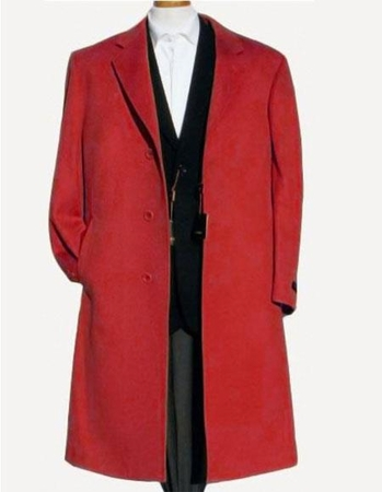 Mens Wool Overcoat Red 3 Button Split Back Alberto Nardoni - click to enlarge