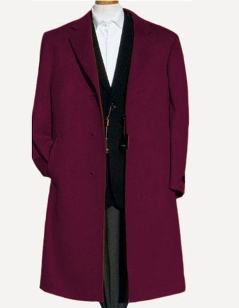 Mens Wool Topcoat Colorful Plum Split Back Overcoat Alberto Nardoni - click to enlarge