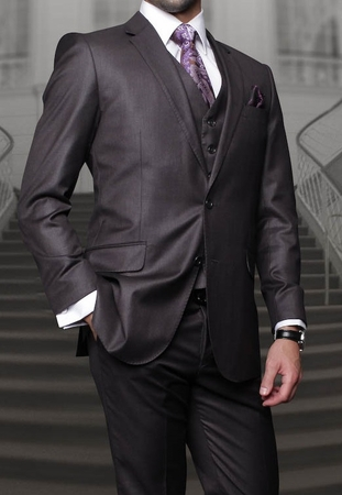 Mens Charcoal Gray Modern Fit Cut Wool 3 Piece Vested Suits Alberto S2BV-100 - click to enlarge