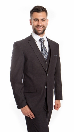 Mens Charcoal Mini Check Italian Wool Double Vent 3 Pc. Suit ZG MW248-02 - click to enlarge