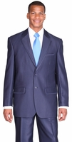 Mens Church Suit High Fashion Blue Sharkskin 2 Piece Milano 57021