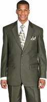 Mens Church Suit High Fashion Olive Green Sharkskin 2 Piece Milano 57021
