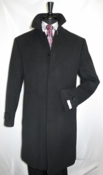 Mens Classy Wool Overcoat Covered Buttons Regular Fit Black COAT61 - click to enlarge