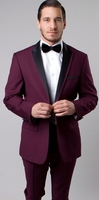 Mens Designer Burgundy Slim Fit Peak Lapel Tuxedo Tazio M187S-08
