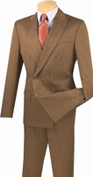 Mens Designer Double Breasted Herringbone Taupe Slim Fit Suit SDHB-1