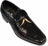 Mens Designer Loafer Shoes Black Sequin After Midnite 6759