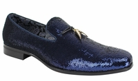 Mens Designer Loafer Shoes Blue Sequin After Midnite 6759
