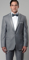 Mens Designer Medium Grey Slim Fit Tuxedo Peak Lapel Tazio M187S-04
