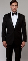 Mens Designer Slim Fit Black Peak Lapel Tuxedo Tazio M182S-01