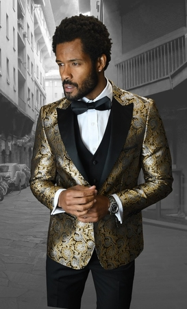 Mens Designer Slim Fit Fashion Suit Gold Trendy Tux Statement Bellagio-4 - click to enlarge