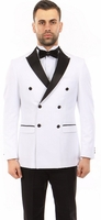 Mens Double Breasted Slim Fit  White/Black Fashion Tuxedo Tazio MT253S-04
