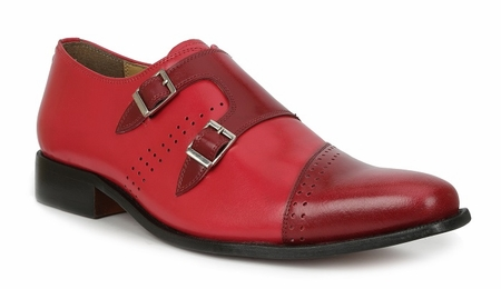 Mens Double Buckle Leather Shoes Red Giorgio Brutini 200130 - click to enlarge