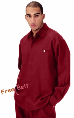Mens Dress Outfits Burgundy Long Sleeve Milano L2612 - click to enlarge