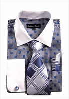 Mens Dress Shirt Matching Tie Set Navy Blue Dot Fortini FL632