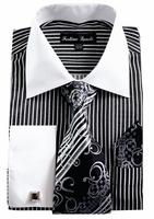 Mens Dress Shirt Tie Combo Set Black Stripe Fortino FL631