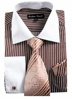Mens Dress Shirt Tie Combo Set Brown Stripe Fortino FL631