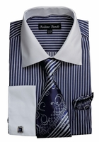 Mens Dress Shirt Tie Combo Set Navy Stripe Fortino FL631